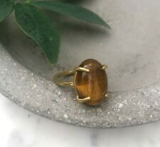 Size 6 Natural Tiger's Eye Oval Gemstone Brass Claw Setting Cocktail Ring Gold