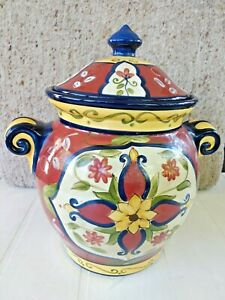 """PIER 1 VALLARTA 12.5"""" COOKIE JAR LID HANDLES CANISTER YELLOW BLUE FLORAL w LABEL"""