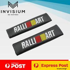 Ralliart Mitsubish Evo Emblem Carbon Fibre Car Seat Belt Shoulder Cover Pads x2
