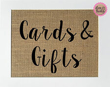 5x7 Cards & Gifts / Burlap Print Sign UNFRAMED / Wedding Party Sign Decor Shower