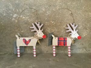 Gisela Graham Christmas Country Patchwork wooden reindeer tree decoration 12cm