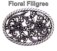 WESTERN COWGIRL HA 0131 OVAL ROPE FLORAL SILVER PLATED RODEO TROPHY BUCKLE NEW