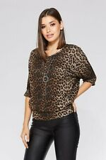 Quiz Cothing - Brown Leopard Print Batwing Top & Necklace Uk 18 Brand New