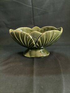 Vintage American Bisque Green Shell Pottery Planter With Pedestal Foot