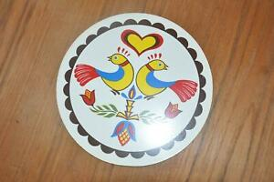 """Vtg NOS Jacob Zook Signed Hex Sign PA Dutch Amish 7 3/4"""" Heart Above 2 Birds"""
