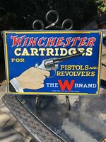 LARGE ''WINCHESTER CARTRIDGE'' 15.5X10 INCH PORCELAIN DEALER SIGN - THE W BRAND