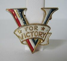 Vtg WWII Victory Pin Accessocraft Enamel V for Victory Brooch Sweetheart WW2 40s