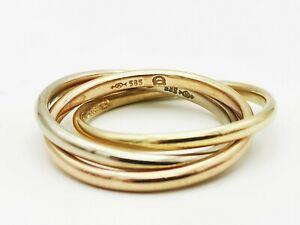 Schmuck schwerer Trinity Ring  585 Gold  Tricolor Weiß/Gelb/Rot Gold  Ring  -TOP