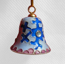 """Cloisonne copper white bell  christmas holiday Colorful flower ornaments 2.5"""""""