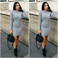 Women Ladies Cable Knitted Stretch Bodycon Short Mini Party Jumper Dress Sweater