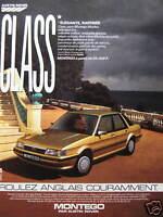 PUBLICITÉ 1985 AUSTIN ROVER GLASS MONTEGO - ADVERTISING