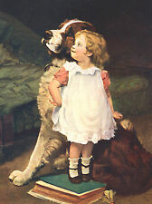 SAINT BERNARD LITTLE GIRLS STANDS ON BOOK BY DOG LOVELY GREETINGS NOTE CARD