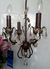 Lovely CRYSTAL Floral Silver Leaf Petite Mini 4 Light bronze finish chandelier