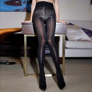 8D Oil Shiny Glossy Sheer Tights Pantyhose Crotch Smoothly Body Stockings Womens