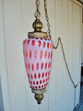 WORKING Vintage Fenton Cranberry Opalescent Coin Dot Hanging Lamp w/ 12' Chain