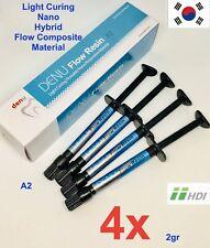 4x Dental Denu Flow Resin A2 Light Cure Composite Flow Resin Nano Hybrid 2g
