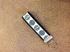 New Handmade Starbucks Coffee logo white Wristlet Key Chain Hand Lanyard Key Fob