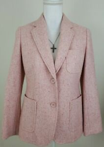 Talbots ~Woman Size 6Petite~Pink/White  Wool Blend Blazer Jacket Fully Lined.
