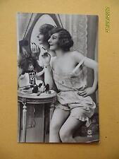 Orig French 1910's-1920's Semi-Nude Postcard Sexy Lady Mirror Art Deco #A1