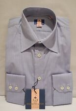 ASQUITH & FOX DOUBLE CUFF BLUE/WHITE CHECK COTTON SHIRT REG. FIT COLLAR 16""