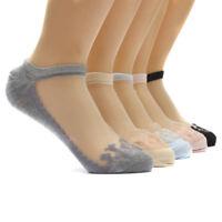 Women Sexy Ultrathin Transparent Crystal Silk Lace Elastic Short Ankle Socks New