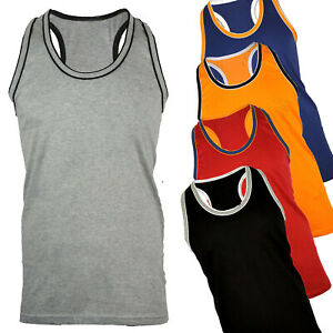 MENS SLEEVELESS RACER BACK LONG VEST CONTRAST TRIM GREAT FOR HOLIDAY GYM S - 4XL