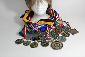 16 Vinttage Metal Medals With Ribbons
