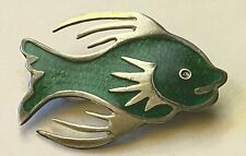 STERLING SILVER FISH PIN BROOCH GREEN ENAMEL TAXCO MEXICO 6.3 GM SIGNED