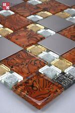 Mosaïque en verre carrelage acier inox Caramel Doré Argent Blanc 1 m²