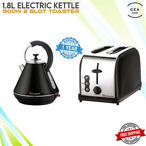 1.8L Electric Cordless Swivel Kettle & 900W 2 Wide Slice Slot Toaster Set Black