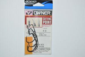owner cutting point J hook extra big wide bite 4/0 5140-141 5 pr pk black chr