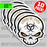 (10) YELLOW ☢ DIE-CUT Toxic Skull Essential Worker Hard Hat Stickers Decals 2020