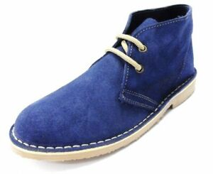 Ladies Blue Retro 70s MOD Style Real Suede Desert Boots