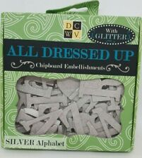 DCWV - ALL DRESSED UP Chipboard Alphabet Silver Glittered 59 Pieces