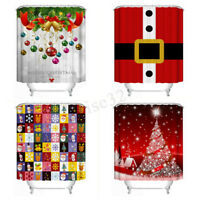 4 Style Christmas Snowman Waterproof Fabric Bathroom Shower Curtain With 12