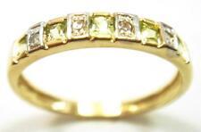SYJEWELRYEMPIRE 10KT YELLOW GOLD NATURAL PERIDOT & DIAMOND BAND RING SIZE7 R1081
