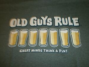 """OLD GUYS RULE """" GREAT MINDS THINK A PINT """" DRAFT BEER  S/S T-SHIRT SIZE L"""