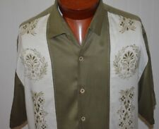 Tommy Bahama Men's Shirt Large Silk Olive Green Scroll Modern Hawaiian