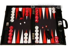 "Wycliffe Brothers 21"" Tournament Backgammon Set - Black Croco Board, Black Field"