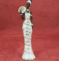 African Lady Traditional Outfit Figurine Tribal Beige Woman Statue Sculpture Art
