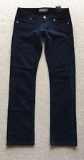 UNIQLO Straight Leg Skinny Navy Blue Velvet Low Rise Trousers Size 23