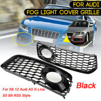 Front Bumper Fog Light Grill Mesh Grille Trim For Audi A5 S-Line S5 B8 RS5 08-12