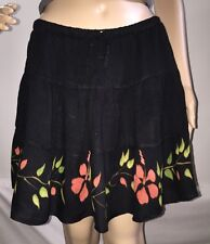 Sexy Floral Mini Skirt Medium Black Red Flowers 100% Rayon BOHO Fortune Cookie