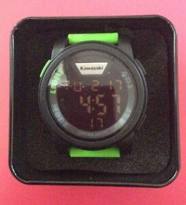 186SPM0032 GENUINE KAWASAKI RETRO DIGITAL BLACK GREEN STRAP STOP WATCH DUAL TIME