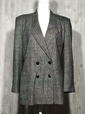 Vtg Oleg Cassini Women's Size 10 Gray Double Breasted Jacket Blazer Check Print