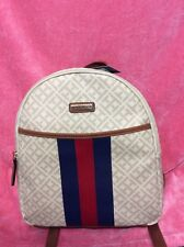 "NWT Tommy Hilfiger CREAM COLORMini backpack 12""x 10"" Bag Printed Striped."