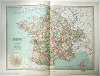 Original 1875 Map of France & Switzerland by J Bartholomew. Antique