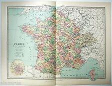 Original 1875 Map of France & Switzerland by J Bartholomew