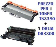 CARTUCCIA PER BROTHER HL-5440 HL-5450 HL-5470 SET TONER TN3380 + DRUM DR3300
