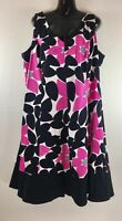 Dressbarn Womens Dress Size 22W A-Line Flare Black Pink Sleeveless Flowy